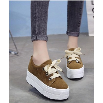 Women Fashion Thick Bottom  Lace Up Casual Sneakers