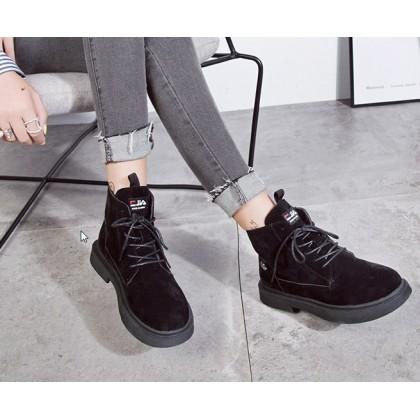 Women Korean Fashion Wild Style Velvet Martin Boots