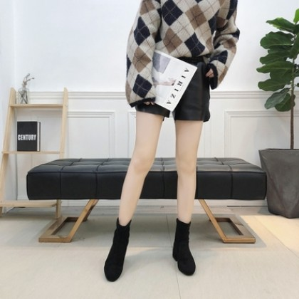 Women Korean Fashion Skinny Short Tube Suede Martin Boots