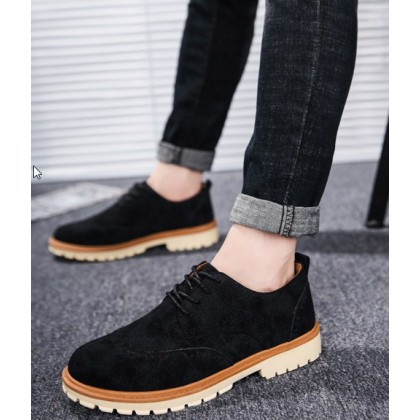 Men Korean Fashion Lace Up Velvet Casual Tooling Shoes