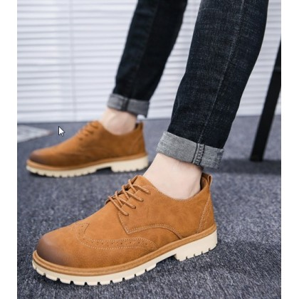 Men Korean Fashion Lace Up Velvet Casual Tooling Shoes