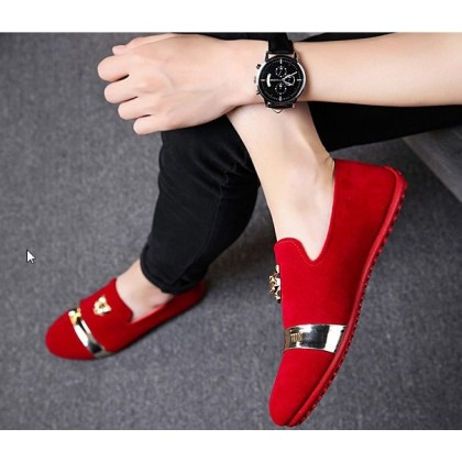 Men Korean Fashion  Suede Tiger head Casual Peas Shoes