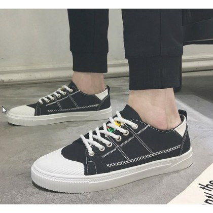 Men Korean Fashion Youth Trend Lace Up Canvas Boys Sneakers
