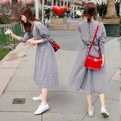 Women Korean Fashion Summer Harjuku Style Lattice Long dress