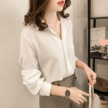Women Fashion Solid Color Long Sleeved Chiffon Shirt