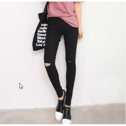 Women Fashion  Ripped Thin Section Pencil Long Pants