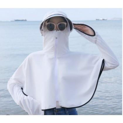Women Fashion Anti UV Short Coat Wild Style Loose Face Hood Jacket