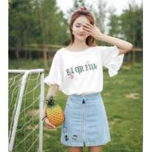 Women Fashion White Trumpet Short Sleeved Shirt