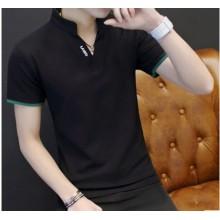 Men Korean Fashion V Neck Short Sleeve Slim Fit High Collar Shirt