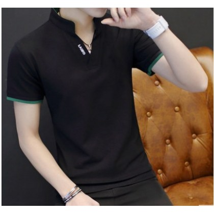 Men Korean Fashion V Neck Short Sleeve Slim Fit High Collar Shirt