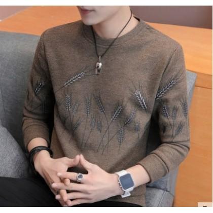 Men Korean Fashion Long Sleeved Round Neck Velvet Sweater