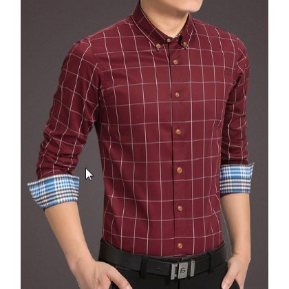 Men Korean Fashion Plaid Long Sleeved Business Slim Shirt