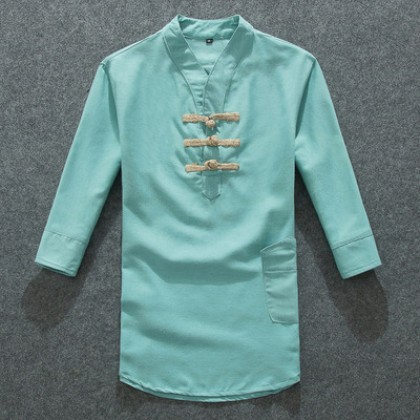 Men Fashion Trendy Chinese Style Linen Short Sleeved Retro Shirt