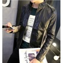 Men Korean Fashion PU Leather Motorcycle Youth Style Jacket
