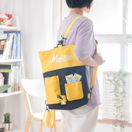 Women Harajuku Style Multi Purpose Canvas Sling bag and Backpack