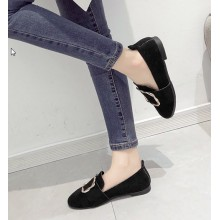 Women Fashion Flat Velvet Deep Mouth Lazy Shoes