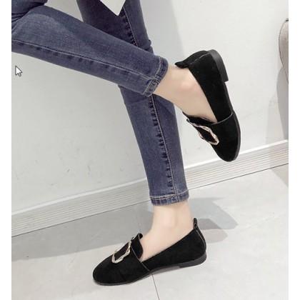 Women Fashion Flat Velvet Deep Mouth Lazy Shoes