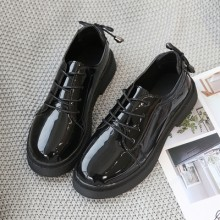Women Fashion Flat Bottom Retro Black Student Shoes