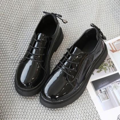 Women Fashion Flat Bottom Retro Black Student Shoes