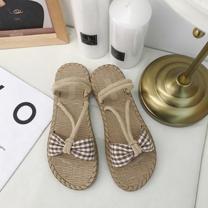 Women Korean Fashion Fairy Flat Bottom Two Wear Roman Sandals