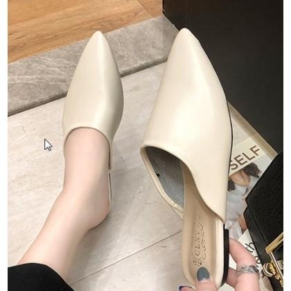 Women Korean Fashion Half Slippers Leather Sandals