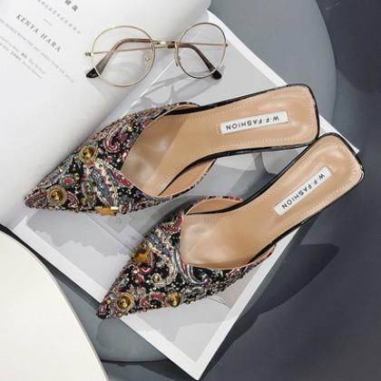 Women High Heels Pointed Half Drag Rivet Baotou Sandals