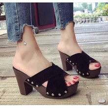 Women Super High Heeled Thick Soled Fish Mouth Sandals
