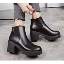 Women Korean Fashion Thick High Heeled Martin Boots