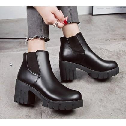 Women Korean Fashion Thick High Heeled Martin Boots