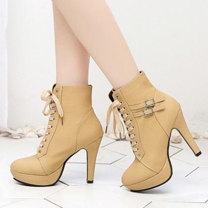 Women Korean Fashion Retro Sexy High Heeled Skinny Boots