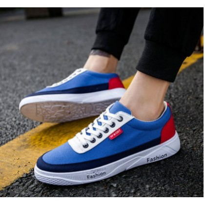 Men Korean Fashion Wild Style Color Matching Casual Canvas Shoes