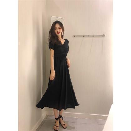 Women Korean Fashion New Long Skirt Retro V Neck Slim Fairy Dress