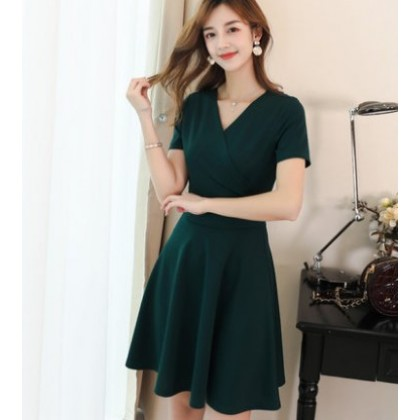 Women Korean Fashion New V Neck Slim Mid Length Skirt Dress