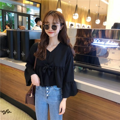 Women Korean Fashion Ruffled Trumpet Long Sleeved Doll Chiffon Shirt