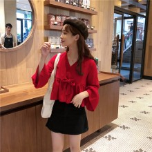 Women Korean Fashion Ruffled Trumpet Long Sleeved Doll Chiffon Shirt