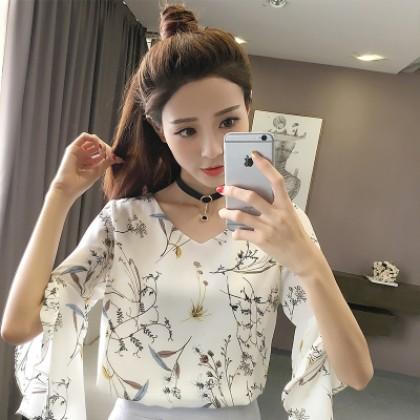 Women Korean Fashion Trumpet Sleeve Floral Loose Chiffon Shirt