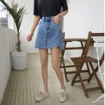 Women Korean Fashion Summer Chic Wild A Cut Denim Skirt