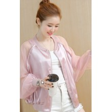 Women Korean Fashion Bat Style Loose Thin Sleeved Baseball Jacket Coat