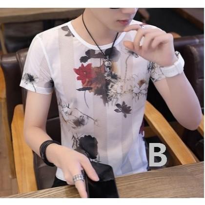 Men Korean Fashion  Summer Casual Thin Cotton Floral Shirt