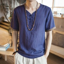 Men Korean Fashion Retro Casual Loose Large Linen Chinese Shirt