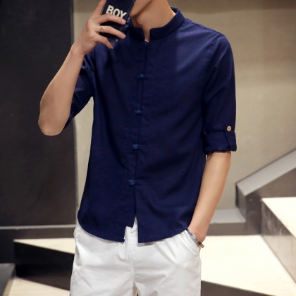 Men Fashion Chinese Style Stand Collar Cotton & Linen Half Sleeved Shirt