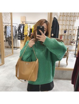 Women Korean Fashion Simple Large Capacity Bucket Style Shoulder Bag