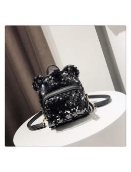 Women Korean Fashion Small Sequin Cute Ear Backpack