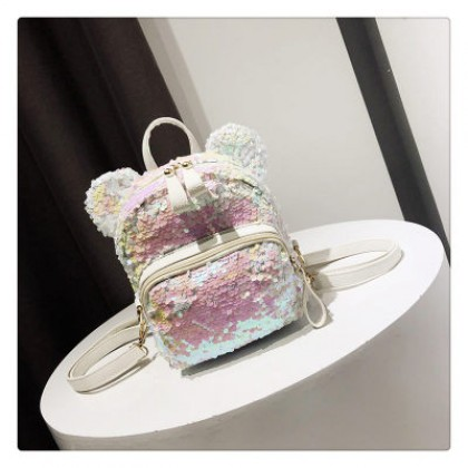 Women Korean Fashion Small Sequin Cute Ear Backpack
