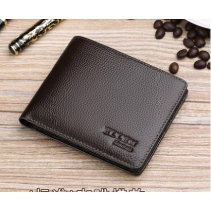 Men Korean Trend Short Casual Cross Section Genuine Leather Wallet