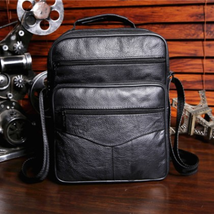 Men Korean Trend Genuine Leather Messenger Shoulder Bag