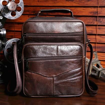 Men Korean Trend Genuine Leather Messenger Shoulder Bag
