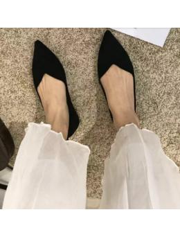 Women Korean Fashion Flat Suede Wild Style Scoop Shoes