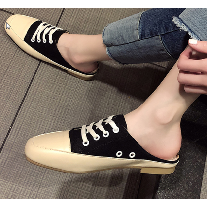 Women Korean Fashion Wild College Hal Slippers Lace Up Sandals