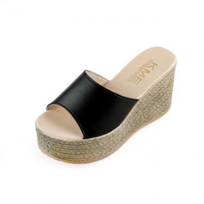 Women Korean Fashion  High Muffin Bottom Wedge Sandals